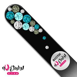 Whats Up Nails – Glass Nail File Bubbles Black Turquoise