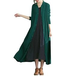 Women Cotton Solid Button Long Sleeve Thin Coat Maxi Jacket