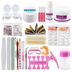 Acrylic Powder UV Gel Nail Art Care Starter Kit Tools Tip Br