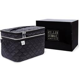 Ellis James Designs Large Travel Makeup Bag for Women - Blac