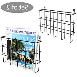 Set of 2 Black Metal Wire Wall Mounted Magazine Holders, Fil