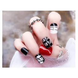 LuckySHD 24Pcs Black and Red Full Cover Fake Nail Tips Love