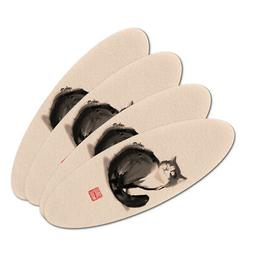 Cat Traditional Chinese Ink Painting Oval Nail File Emery Bo