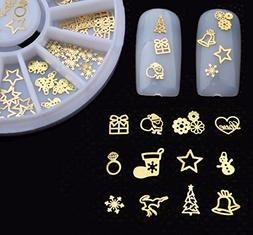 1 Pack Christmas 3D Gold Metal Nail Art Rhinestone Wheel Tin