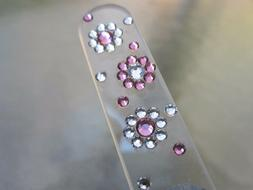 Mont Bleu Czech Crystal Glass Nail File Flower Adorned with
