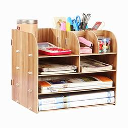 Desk Organizer Wooden Home Office Workspace Desktop Organize