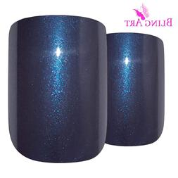 Bling Art False Nails French Fake Glitter Grey Squoval Acryl