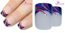 False Nails Bling Art French Fake Glitter Purple Squoval 24
