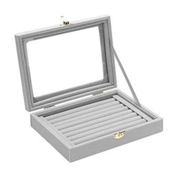 Gray 8 Booths Velvet Carrying Case with Glass Cover Jewelry