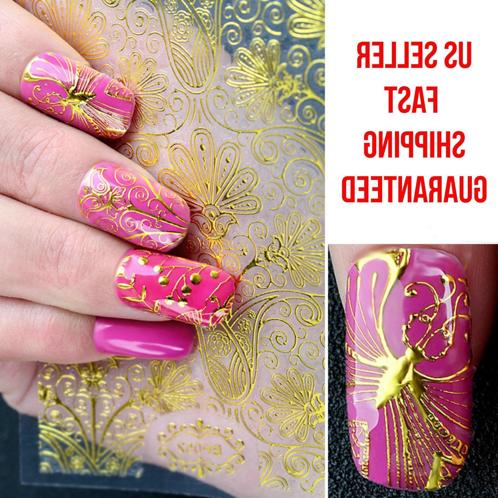108 design nail art 3d golden stickers