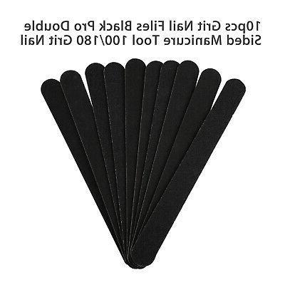 10pcs Black Pro Sided Manicure Grit File Boards