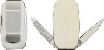 15447sb white bone satin pen folding knife