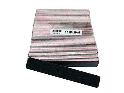 50 Pieces Professional Jumbo Size Black Nail Files Grit 80/80