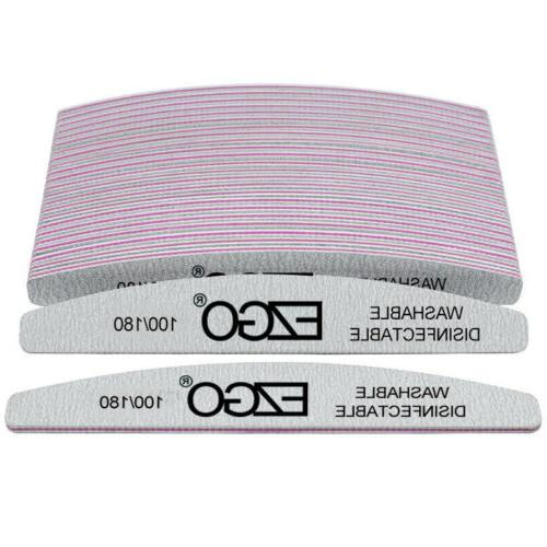 EZGO Nail Files 100 180 Grit for Poly Nail Extension Gel and