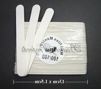 50pcs mini manicure nail files white 100