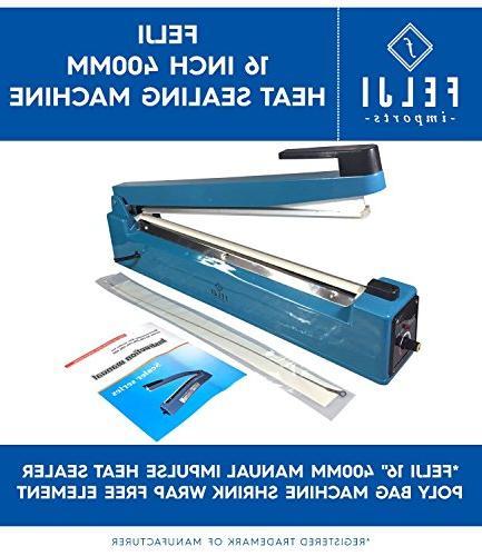 "Felji 16"" 400mm Manual Impulse Heat Sealer Poly Bag Machine"