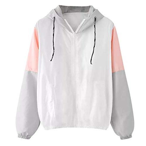 Moserian Women Long Sleeve Thin Skinsuits Hooded Zip Splicin