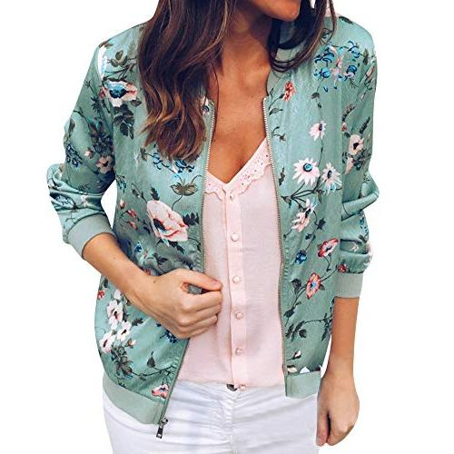 Moserian Womens Ladies Retro Floral Zipper up Bomber Jacket