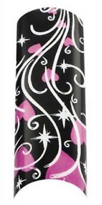 Cala Airbrushed Nail Tips Black & Pink Hearts 87745+Nail Glu