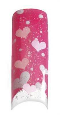 Cala Airbrushed Nail Tips Pink Hearts 87786+Nail Glue+Aviva