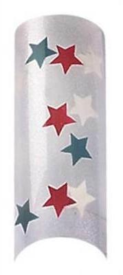 Cala Airbrushed Nail Tips White, Red, Blue Stars 87765+Nail