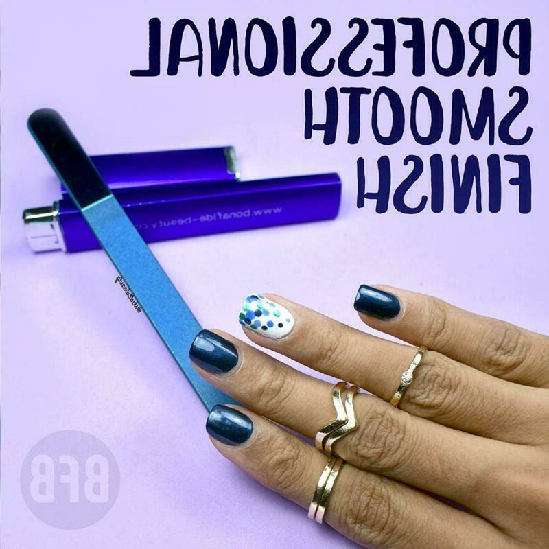 Bona Beauty Glass Nail File 1-Piece Cobalt Medium Fine Grit File In