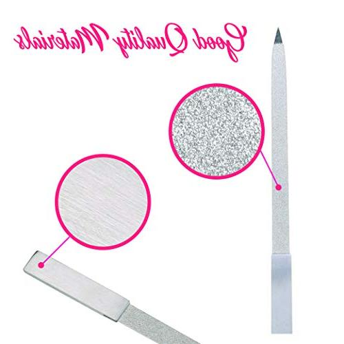 Diamond Pack, 7 inch Sided Gentle Nail Shaping, Washable Steel Surface for Home Travel Pedicure Kit