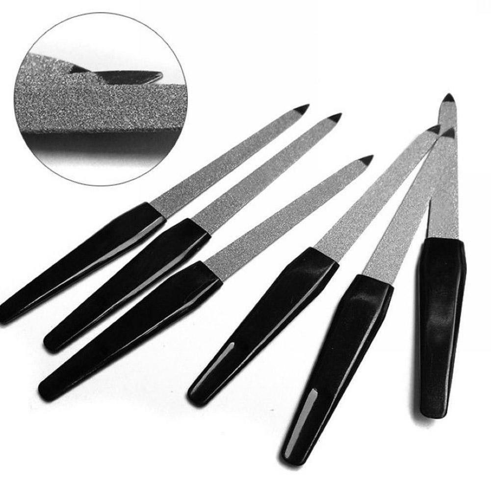 Double Sided Plastic Handle Manicure Metal Nail File Pro Ped