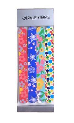 Pack 4 Girls Printed Emery Nail Files Boards Various Colours