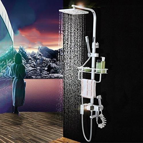 square thermostatic shower set copper