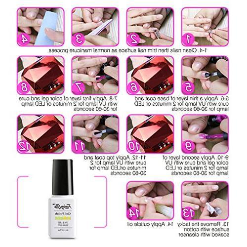 FairyGlo 6 PCS Polish Top 9W LED Lamp + Manicure Nail Removers Nipper Soak Nail 026
