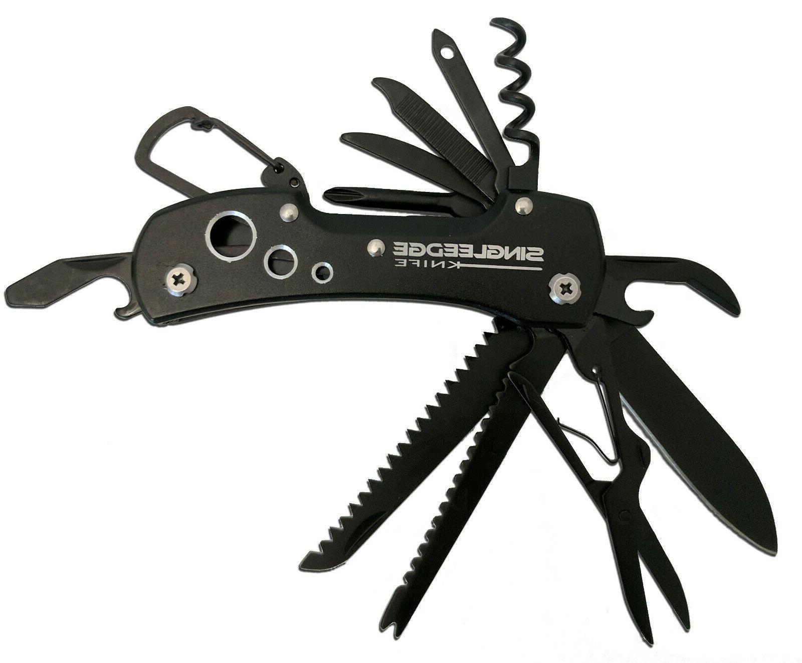 titanium black multi tool style pocket knife