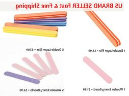 Long Nail File Double Layer Buffing & Mini Wooden Emery Boar