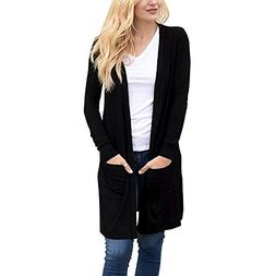 Moserian Women's Long Sleeve Open Front Loose Pocket Causal