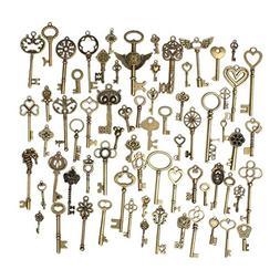 69pcs Mixed Vintage Heart Owl Crown Key Necklace Pendant Cha