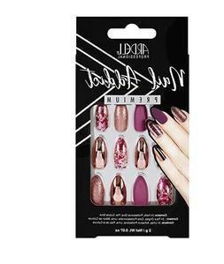 ARDELL Nail Addict Chrome Pink Foil 24 False Nails w/ Glue F