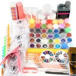 Nail Art Kit 120ml Acrylic Liquid Powder Glitter Tips Glue T