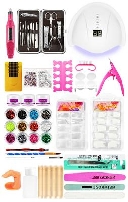 Nail Art Kit Set Acrylic Powder+UV light+Clippers+Electric N