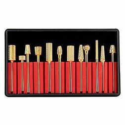 Makartt Nail Drill Bit Set 12Pcs Gold Carbide Nail Drill Bit