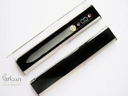 patented glass nail file with swarovski jewels