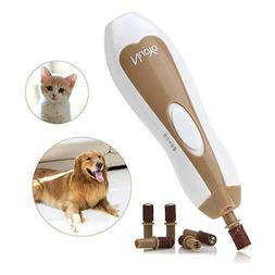 Electric Pet Nail Grinder, Paw Trimmer Clipper, Grooming,Tri