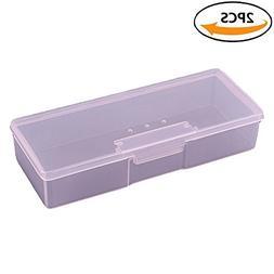 2 Pack Plastic Transparent Nail Storage Box Rhinestone Buffe