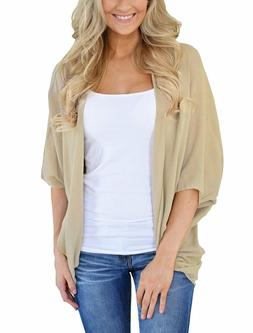 PRETTODAY Women's Summer Solid Color Kimono Cardigan Loose S