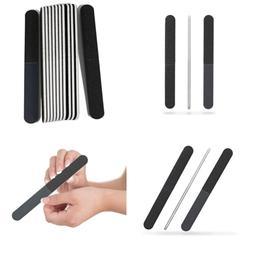 Professional Quality Nail File BLACK 4 Way WHITE Center 100