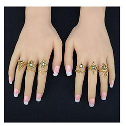 Challyhope Set of 10pcs Vintage Rings Boho Knuckle Stackable