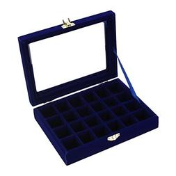 Velvet Jewelry Carrying Box with Glass Cover Earring Necklac