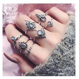 Challyhope Women Fashion 7pcs/Set Bohemian Vintage Silver St