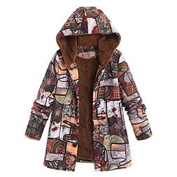 Womens Winter Warm Outwear Duseedik Floral Print Hooded Over