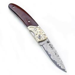 Wood Handle Vintage Vg-10 Damascus Steel Blade Pocket Folder