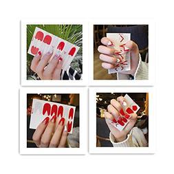 HYL World 4 Sheets Triangle New Nail 3D Artificial Nail Art